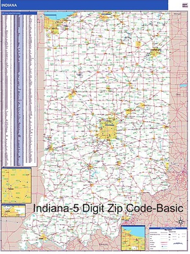 Indiana Zip Code Map From OnlyGlobes