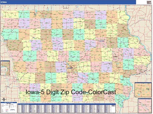 Iowa Zip Code Map from OnlyGlobes.com