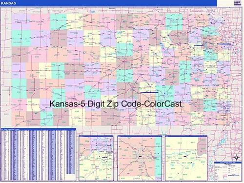 Kansas Zip Code Map-Laminated