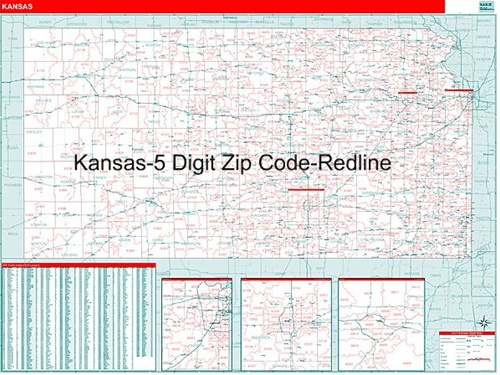 Kansas Zip Code Map with Wooden Rails from OnlyGlobes.com
