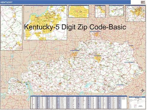 Kentucky Zip Code Map from OnlyGlobes.com