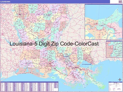 Louisiana Zip Code Map From OnlyGlobescom - Louisana map