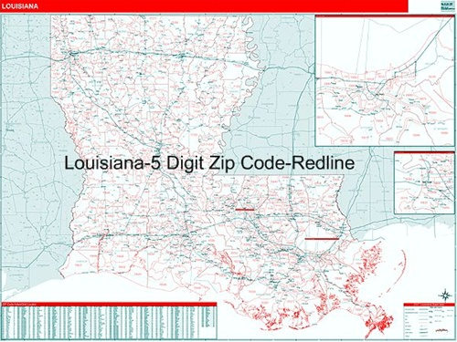Louisiana Zip Code Map from OnlyGlobes.com