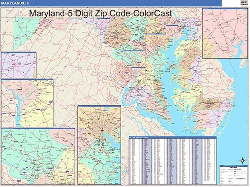 Maryland Zip Code Map from OnlyGlobescom