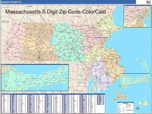 Massachusetts Zip Code Map from OnlyGlobes.com