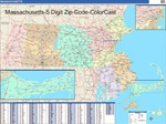 Massachusetts State Zip Code Map with Wooden Rails