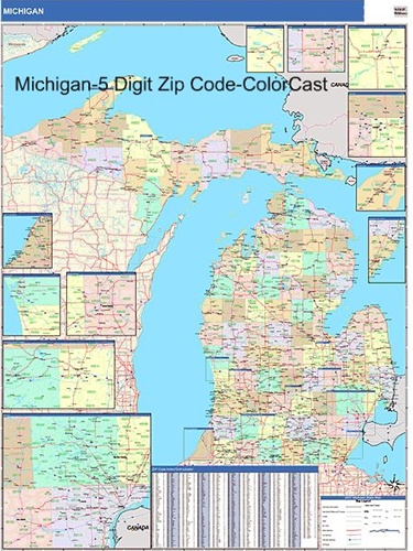 Michigan Zip Code Map Michigan Zip Code Map with Wooden Rails from OnlyGlobes.com