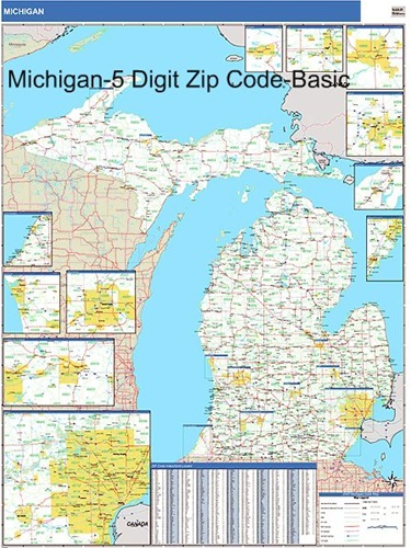 Michigan Zip Code Map-Laminated on area code map, michigan map gladwin mi, hawaii map, flint mi and suburbs map, michigan county map, indiana zip codes by map, michigan municipality map, michigan service area map, michigan township plat maps, small towns in wyoming map, st. johns michigan map, michigan on a map, portage chain of lakes mi map, michigan schools map, zip codes by county map, zip codes by state map, michigan dnr inland lake maps, michigan zoning maps, michigan county list, missouri city zip codes map,