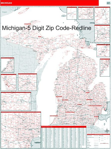 Michigan Zip Code Map-Laminated with Wooden Rails