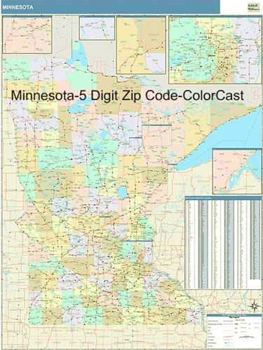 Minnesota Zip Code Map from OnlyGlobes.com on