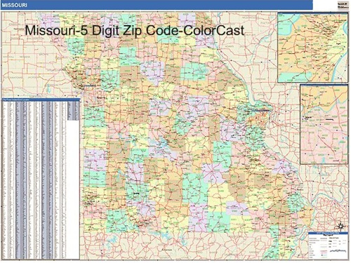 Missouri Zip Code Map from OnlyGlobes.com