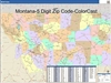 Montana State Zip Code Map with Wooden Rails