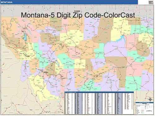 Montana Zip Code Map from OnlyGlobes.com