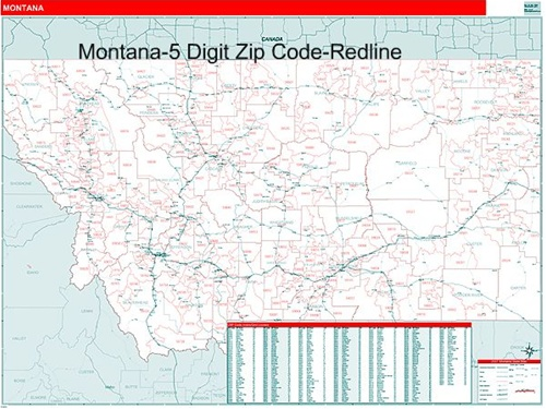 Montana Zip Code Map with Wooden Rails from OnlyGlobes.com