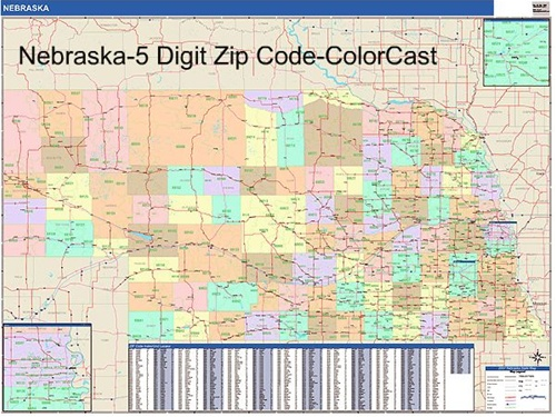 Nebraska Zip Code Map from OnlyGlobes.com