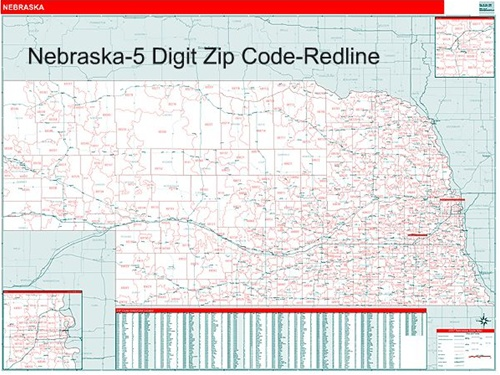 Nebraska Zip Code Map with Wooden Rails from OnlyGlobes.com