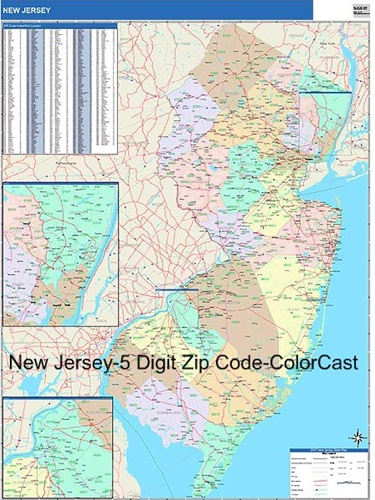 New Jersey Zip Code Map-Laminated