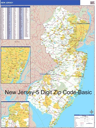 New Jersey Zip Code Map-Laminated with Wooden Rails