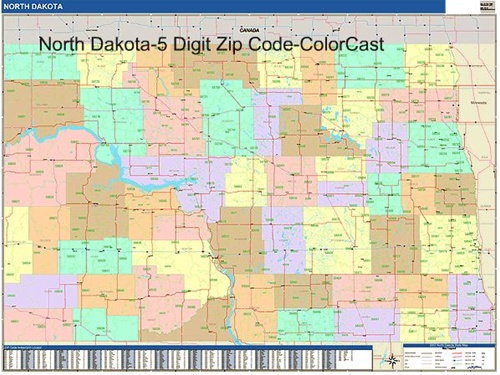 North Dakota Zip Code Map from OnlyGlobes.com
