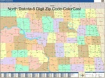 North Dakota State Zip Code Map with Wooden Rails