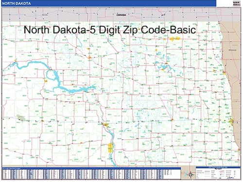 North Dakota Zip Code Map with Wooden Rails from OnlyGlobescom