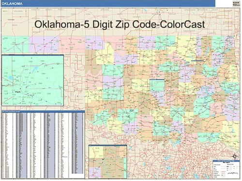 Oklahoma Zip Code Map-Laminated
