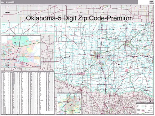 oklahoma zip code map from onlyglobes