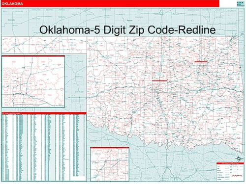Oklahoma Zip Code Map from OnlyGlobes.com