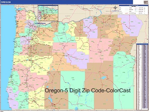 Oregon Zip Code Map from OnlyGlobes.com