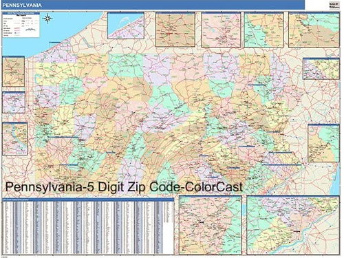 Pennsylvania Zip Code Map from OnlyGlobes.com