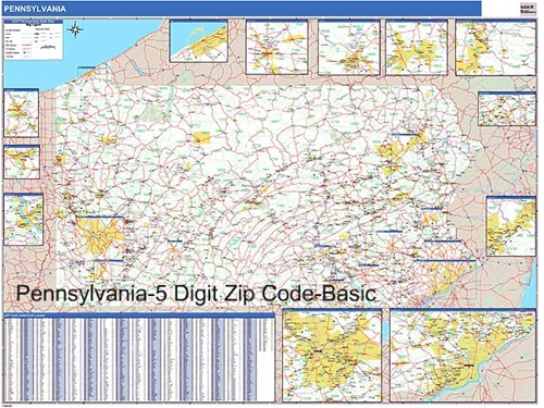 Pennsylvania Zip Code Map with Wooden Rails from OnlyGlobescom