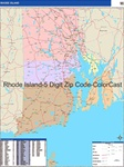 Rhode Island State Zip Code Map with Wooden Rails