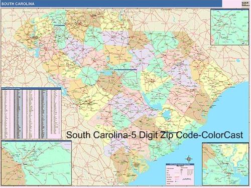 South Carolina Zip Code Map from OnlyGlobes.com
