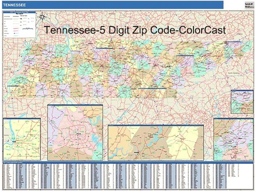 Tennessee Zip Code Map Laminated