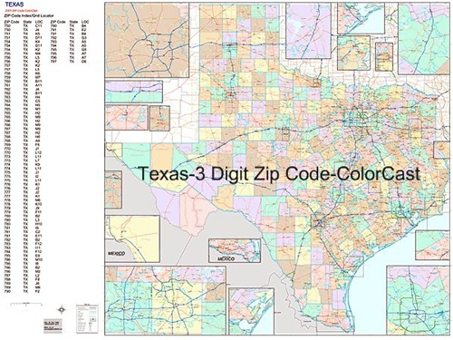 Texas Zip Code Map-Laminated with Wooden Rails