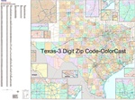 Texas State Zip Code Map with Wooden Rails
