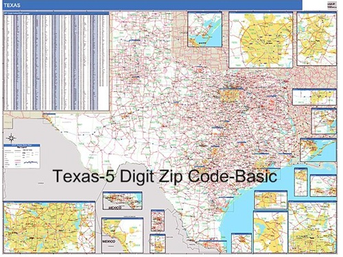 Texas Zip Code Map From OnlyGlobes