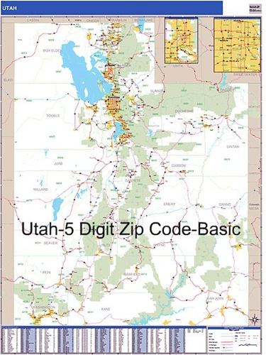 Utah Zip Code Map from OnlyGlobes.com