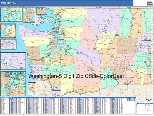 Washington Zip Code Map from OnlyGlobes.com