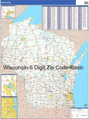 Wisconsin Zip Code Map from OnlyGlobes.com