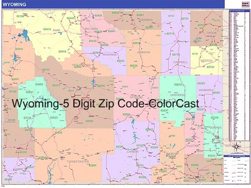 Wyoming Zip Code Map from OnlyGlobes.com
