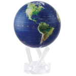 Satellite View Rotating 6 Inch Royal Blue Globe from Mova