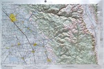 Raised Relief Map of Fresno California, Bumpy Maps