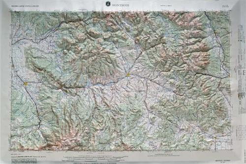 Montrose Colorado Raised Relief Map