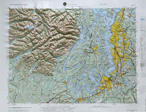 Seattle Raised Relief Map From OnlyGlobescom - Raised relief map