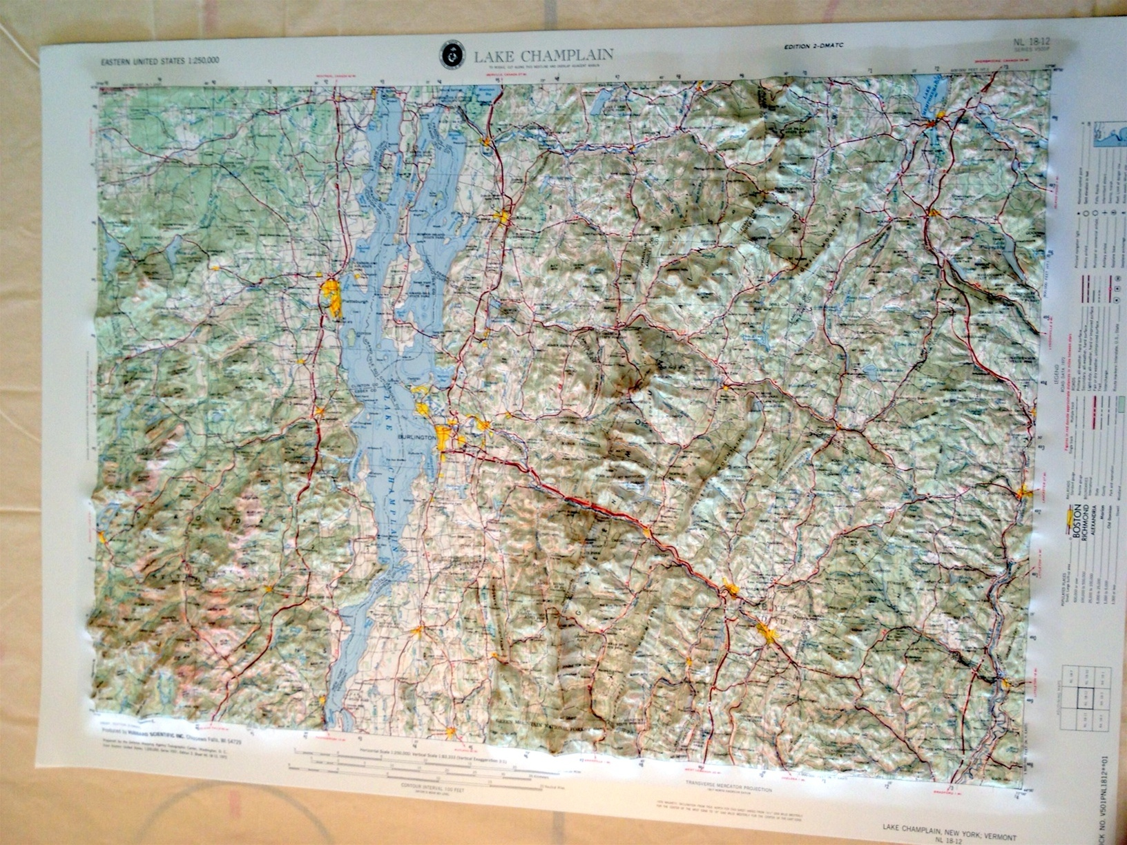 Lake Champlain Raised Relief Map Ships Free Low Price - Raised relief map
