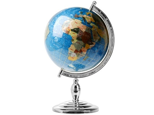 13 capri blue gemstone world globe on silver pedestal stand personalized option bookmark and share gumiabroncs Image collections
