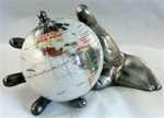 "Powdered Mother-of-Pearl 4 ""World In Hand Gemstone Globe - Pewter"