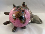 "Rubellite 4"" World In Hand Gemstone Globe - Pewter"