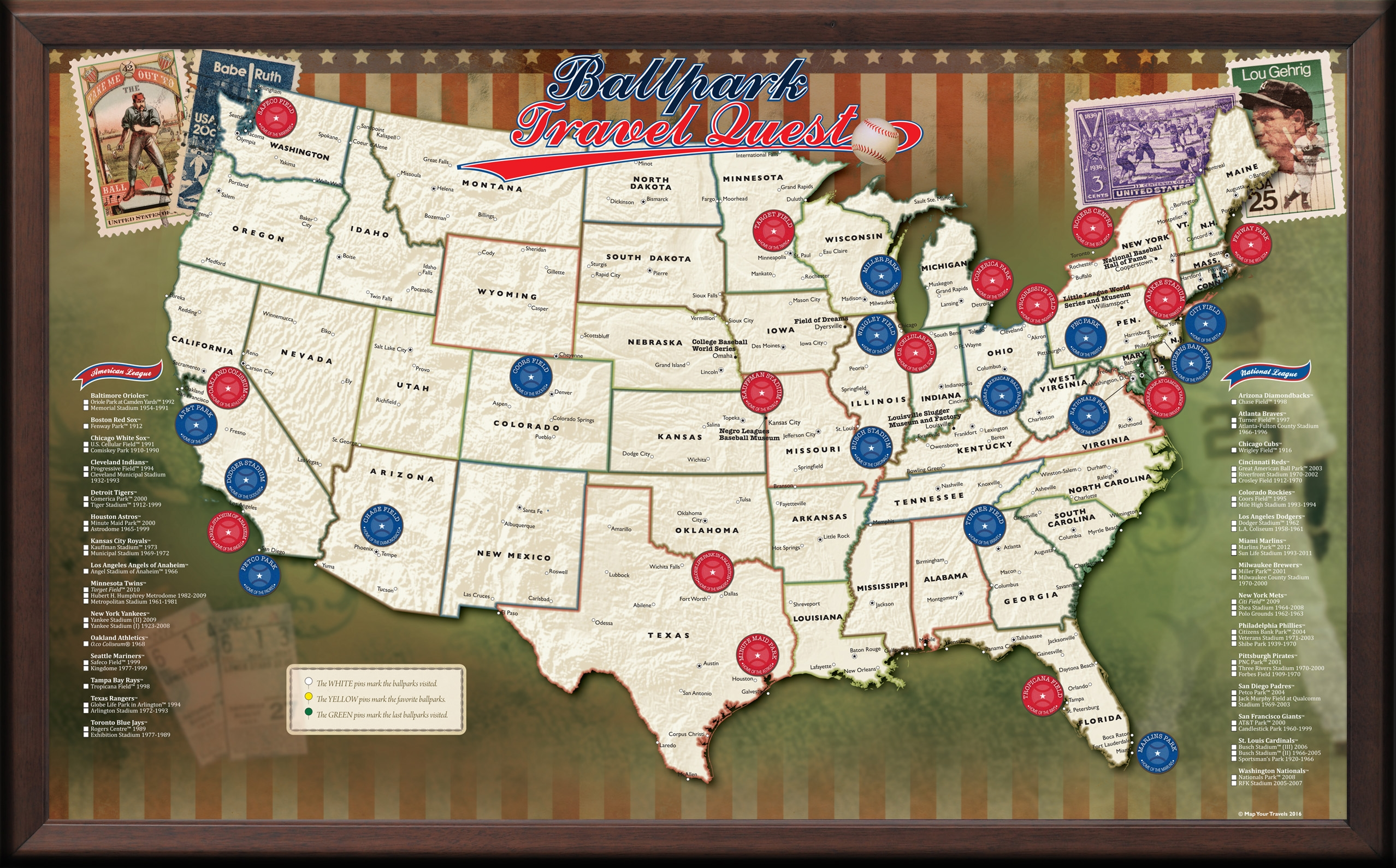 USA Baseball Push Pin Map - Framed and Personalized (Optional)
